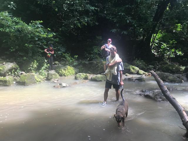 Trekking through a creek